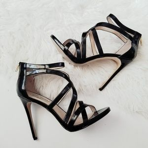 Steve madden stella shiny black zip up heels